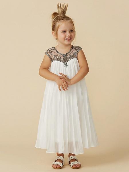 A-Line Tea Length Holiday Flower Girl Dresses - Chiffon Short Sleeve Jewel Neck With Beading_4
