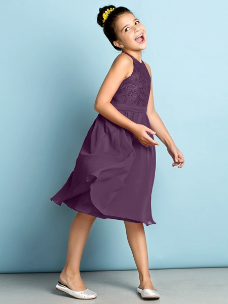 A-Line Jewel Neck Knee Length Chiffon / Lace Junior Bridesmaid Dress With Lace / Natural / Mini Me_30