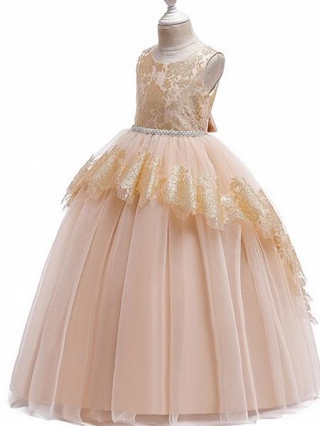 Princess Round Floor Length Cotton Junior Bridesmaid Dress With Bow(S) / Tier / Appliques_8