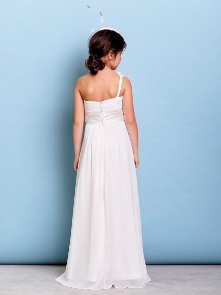 A-Line One Shoulder Floor Length Chiffon Junior Bridesmaid Dress With Sash / Ribbon / Criss Cross / Ruched / Natural_5