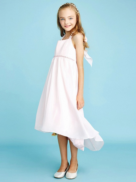 Sheath / Column Halter Neck Asymmetrical Chiffon Junior Bridesmaid Dress With Bow(S) / Beading / Natural_5