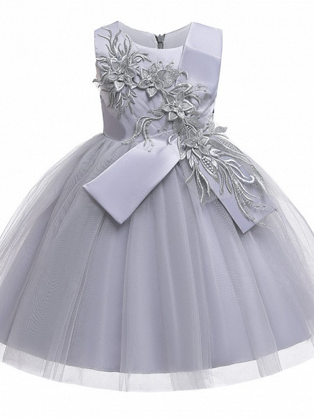 A-Line Knee Length Wedding / Birthday / Pageant Flower Girl Dresses - Cotton Blend Sleeveless Jewel Neck With Petal / Sash / Ribbon / Trim_2