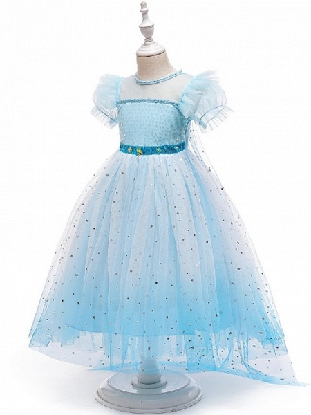 Princess / A-Line Floor Length Wedding / Party Flower Girl Dresses - Tulle Short Sleeve Jewel Neck With Paillette_4
