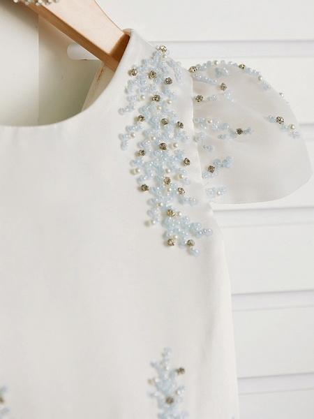 Princess Tea Length Wedding / Birthday / Pageant Flower Girl Dresses - Satin / Tulle Cap Sleeve Jewel Neck With Beading_5