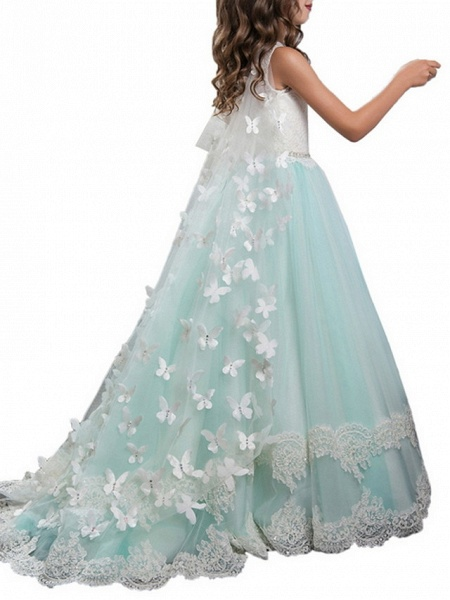 Ball Gown Floor Length Wedding / Event / Party Flower Girl Dresses - Polyester Sleeveless Jewel Neck With Appliques / Color Block_3