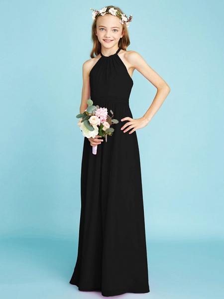 A-Line Halter Neck Floor Length Chiffon Junior Bridesmaid Dress With Sash / Ribbon / Natural_40