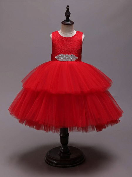 Princess Asymmetrical Wedding / Party / Pageant Flower Girl Dresses - Satin / Tulle Sleeveless Jewel Neck With Belt / Crystals / Rhinestones_3