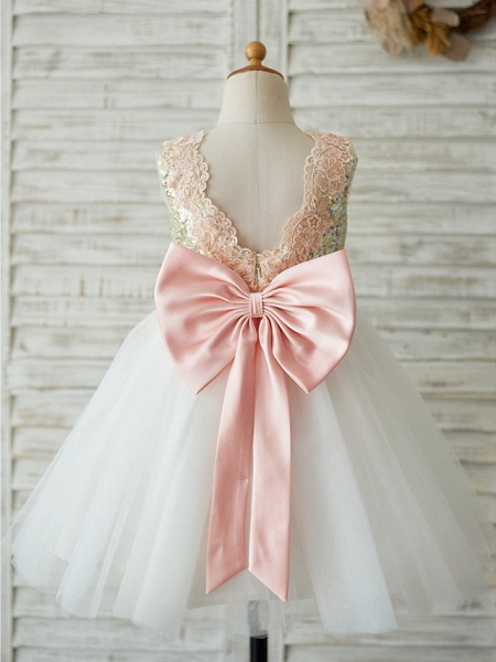 A-Line Knee Length Wedding / Birthday / Pageant Flower Girl Dresses - Tulle / Sequined Sleeveless Jewel Neck With Bows / Appliques_2
