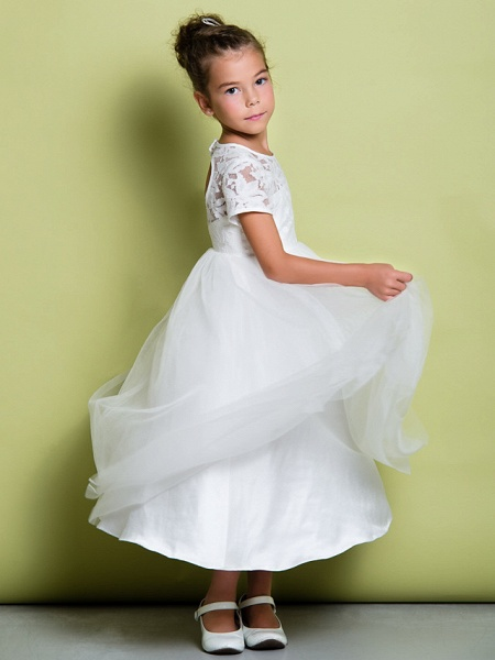 A-Line Tea Length Wedding / First Communion Flower Girl Dresses - Lace / Tulle Short Sleeve Jewel Neck With Lace_4