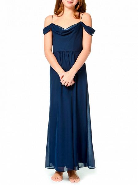 A-Line Spaghetti Strap Ankle Length Chiffon Junior Bridesmaid Dress With Pleats_1