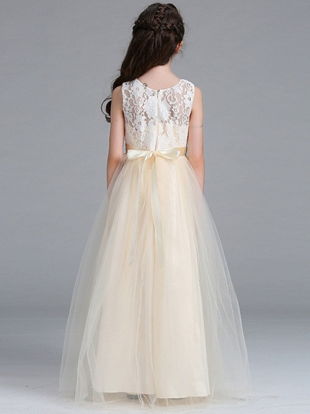 A-Line Round Floor Length Cotton Junior Bridesmaid Dress With Lace / Bow(S)_2