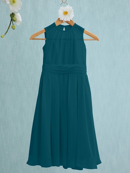 Sheath / Column Jewel Neck Knee Length Chiffon Junior Bridesmaid Dress With Ruched / Natural_33