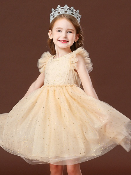 Princess / Ball Gown Short / Mini Wedding / Party Flower Girl Dresses - Tulle Short Sleeve Jewel Neck With Ruffles / Paillette_2