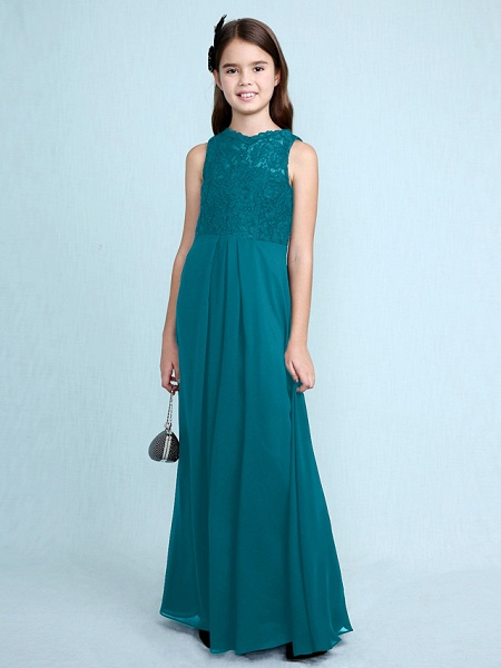 Sheath / Column Scoop Neck Floor Length Chiffon / Lace Junior Bridesmaid Dress With Lace / Natural_30