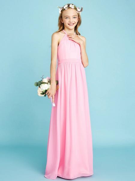 A-Line Halter Neck Floor Length Chiffon Junior Bridesmaid Dress With Sash / Ribbon / Natural_4