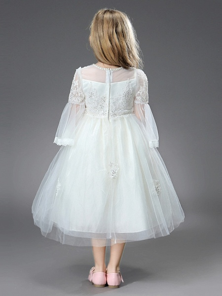 Princess / Ball Gown Ankle Length / Royal Length Train Wedding / First Communion Flower Girl Dresses - Tulle / Matte Satin Long Sleeve Jewel Neck With Beading / Appliques / Butterfly_2