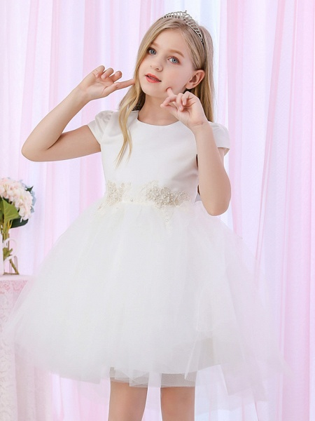 Princess / Ball Gown Medium Length Wedding / Event / Party Flower Girl Dresses - Satin / Tulle Cap Sleeve Jewel Neck With Beading / Appliques / Color Block_3