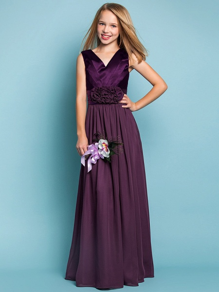 Sheath / Column V Neck Floor Length Chiffon Junior Bridesmaid Dress With Flower / Spring / Summer / Fall / Apple / Hourglass