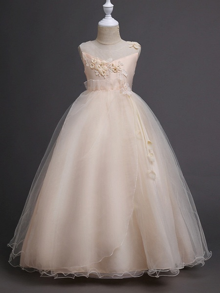 Princess Long Length Wedding / First Communion Satin / Tulle Sleeveless Jewel Neck With Belt / Appliques_3