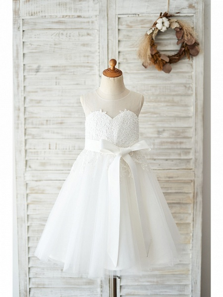 Ball Gown Knee Length Wedding / Birthday Flower Girl Dresses - Lace / Tulle Sleeveless Jewel Neck With Lace / Belt_1