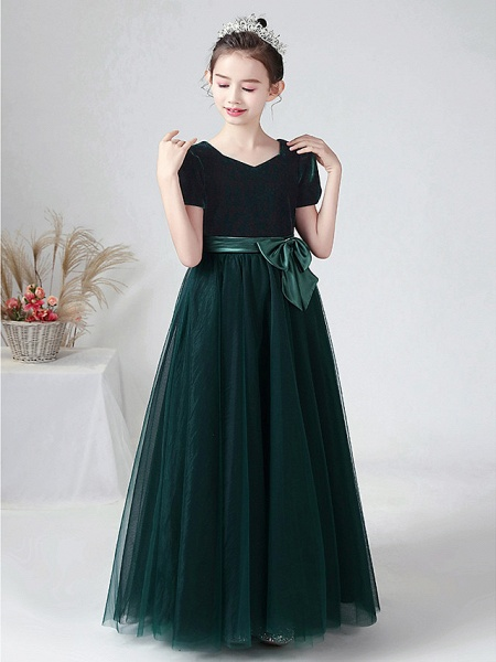 Ball Gown Floor Length Wedding / Party Flower Girl Dresses - Tulle / Velvet Short Sleeve Bateau Neck With Bow(S)_6
