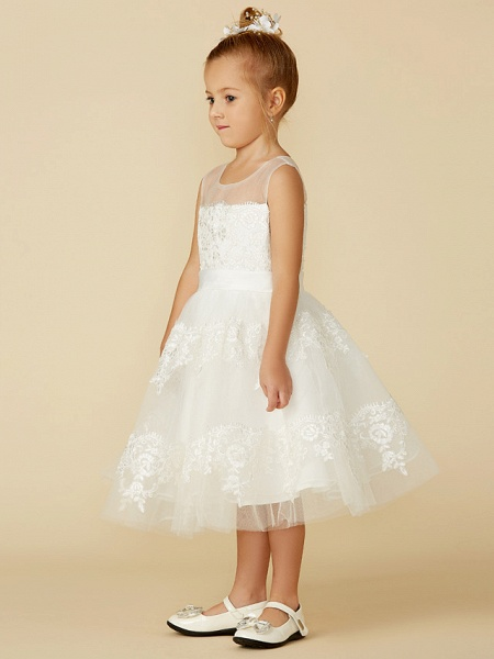 A-Line Tea Length Wedding / First Communion Flower Girl Dresses - Lace Sleeveless Jewel Neck With Lace / Sash / Ribbon_3