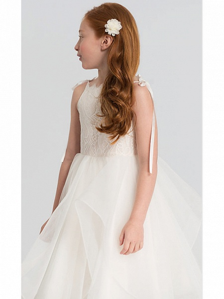 A-Line Tea Length Wedding Flower Girl Dresses - Lace / Satin / Tulle Sleeveless Scalloped Neckline With Tier / Solid_3