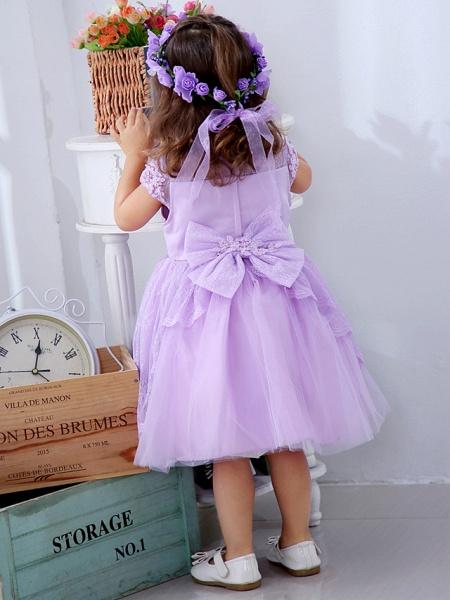 Ball Gown Medium Length Wedding / Party Flower Girl Dresses - Lace / Satin / Tulle Short Sleeve / Sleeveless Jewel Neck With Lace / Bow(S) / Appliques_7