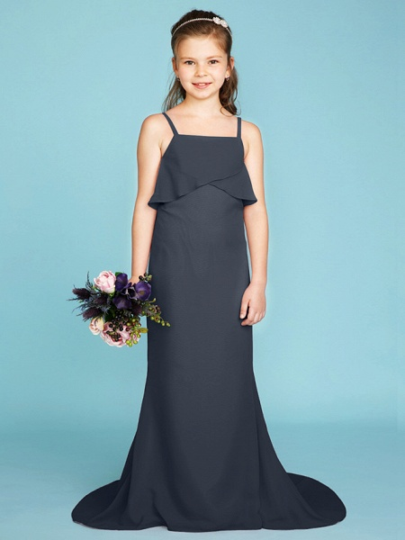 Sheath / Column Spaghetti Strap Sweep / Brush Train Chiffon Junior Bridesmaid Dress With Tiered / Wedding Party / Open Back_48