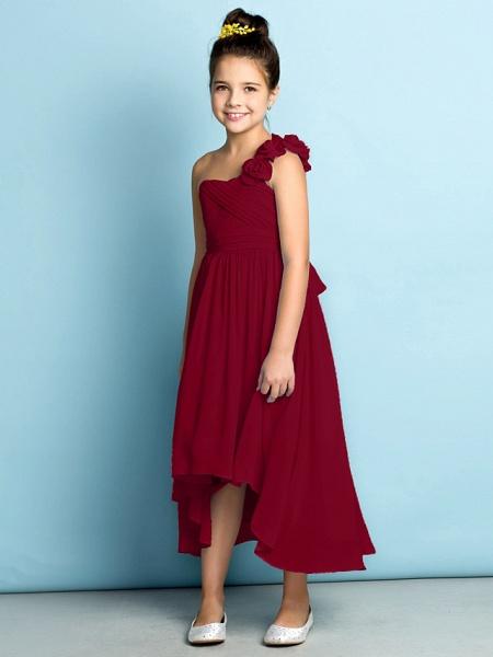A-Line One Shoulder Asymmetrical Chiffon Junior Bridesmaid Dress With Criss Cross / Flower / Natural / Mini Me_18