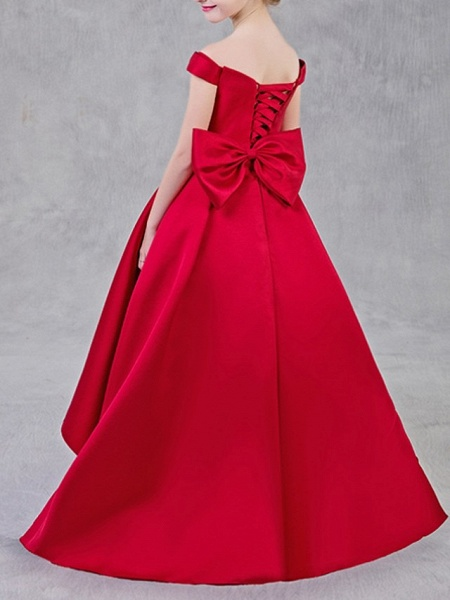 Ball Gown Sweep / Brush Train Pageant Flower Girl Dresses - Polyester Short Sleeve Off Shoulder With Bow(S)_5