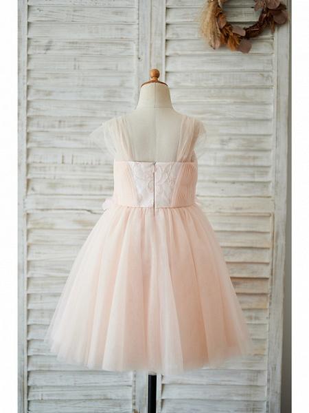 Ball Gown Knee Length Wedding / Birthday Flower Girl Dresses - Tulle Cap Sleeve Sweetheart Neckline With Petal / Pearls_2