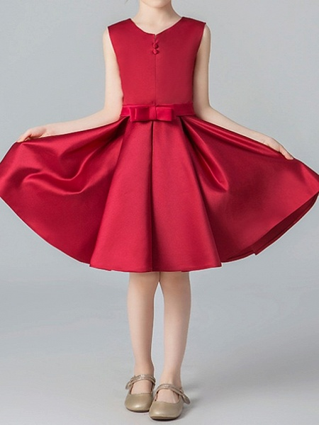 A-Line Knee Length Pageant Flower Girl Dresses - Polyester Sleeveless Jewel Neck With Pleats_4