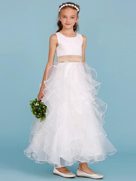 Princess / A-Line Jewel Neck Ankle Length Organza / Satin Junior Bridesmaid Dress With Sash / Ribbon / Cascading Ruffles / Wedding Party_5