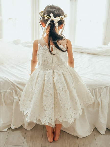 Ball Gown Tea Length Wedding / First Communion / Birthday Flower Girl Dresses - Lace / Tulle Sleeveless Jewel Neck With Lace_2