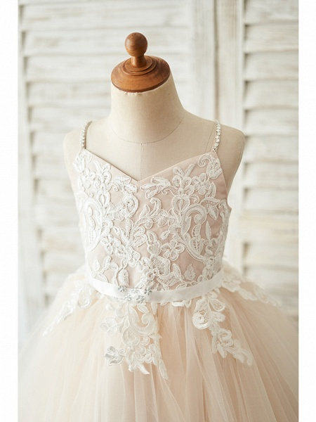 Ball Gown Knee Length Wedding / Birthday Flower Girl Dresses - Lace / Tulle Sleeveless Spaghetti Strap With Belt / Crystals_3