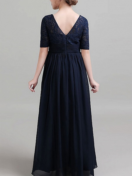 A-Line Round Neck Floor Length Chiffon Junior Bridesmaid Dress With Ruching_5