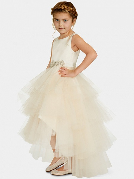 Ball Gown Asymmetrical Wedding / Party Flower Girl Dresses - Satin / Tulle Sleeveless Jewel Neck With Pleats / Tier / Solid_1