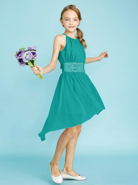 Sheath / Column Jewel Neck Asymmetrical Chiffon Junior Bridesmaid Dress With Sequin / Natural_15