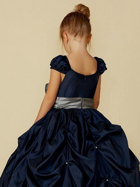 Ball Gown Floor Length Pageant Flower Girl Dresses - Taffeta Short Sleeve Scoop Neck With Belt / Bow(S)_7