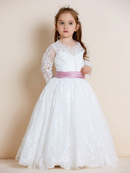Ball Gown Floor Length Wedding / First Communion Flower Girl Dresses - Lace / Tulle Long Sleeve V Neck With Lace / Sash / Ribbon / Bow(S)_3