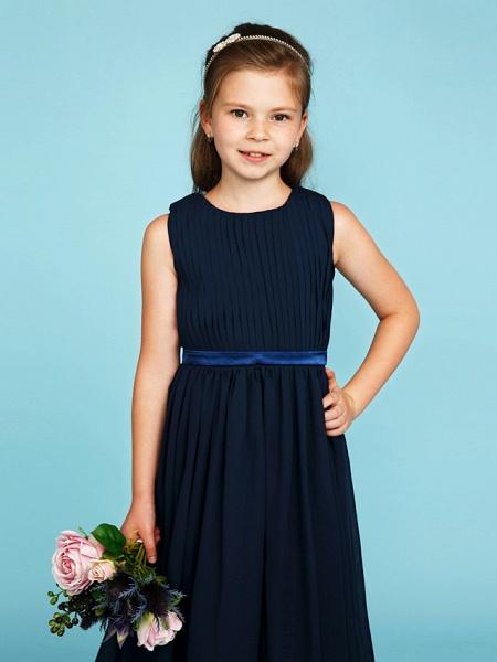 Princess / A-Line Crew Neck Tea Length Chiffon Junior Bridesmaid Dress With Sash / Ribbon / Draping / Wedding Party_6