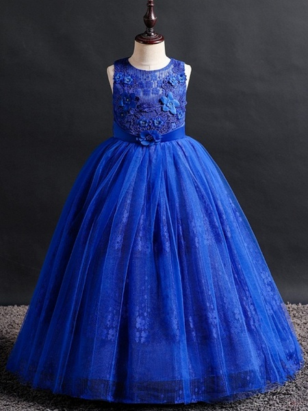 Princess / Ball Gown Floor Length Wedding / Party Flower Girl Dresses - Lace / Tulle Sleeveless Jewel Neck With Bow(S) / Appliques_5