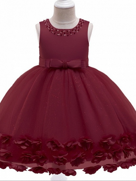 Princess / Ball Gown Knee Length Wedding / Party Flower Girl Dresses - Tulle / Satin Chiffon Sleeveless Jewel Neck With Bow(S) / Beading / Appliques_4