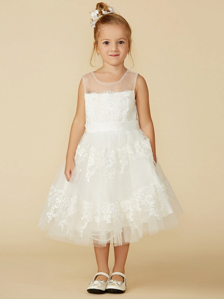 A-Line Tea Length Wedding / First Communion Flower Girl Dresses - Lace Sleeveless Jewel Neck With Lace / Sash / Ribbon_4