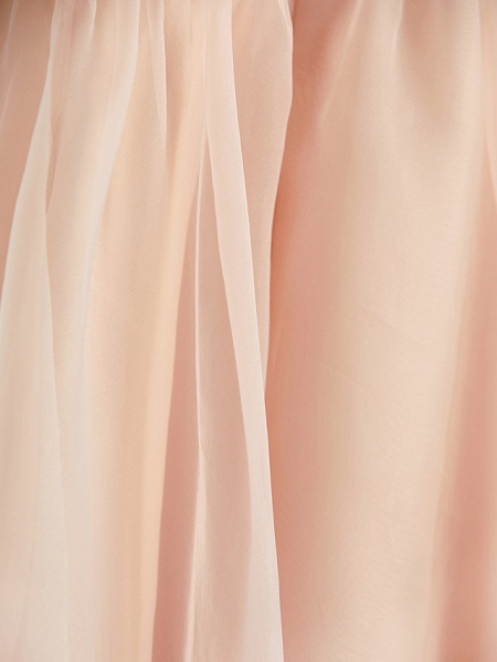 A-Line Jewel Neck Ankle Length Organza / Satin Junior Bridesmaid Dress With Beading / Tier_12