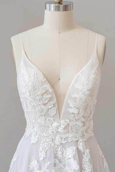 SD1959 Spaghetti Strap Lace Appliques Tulle Wedding Dress_5