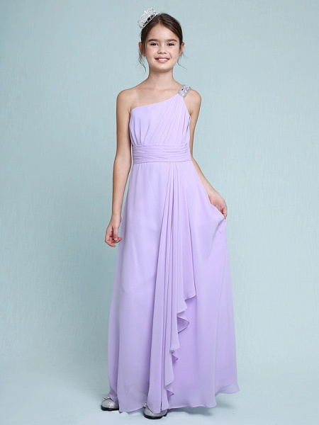 Sheath / Column One Shoulder Floor Length Chiffon Junior Bridesmaid Dress With Ruched / Beading / Side Draping / Natural_3