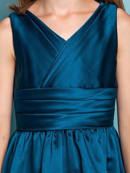 Princess / A-Line V Neck Floor Length Satin Junior Bridesmaid Dress With Sash / Ribbon / Criss Cross / Spring / Summer / Fall / Apple / Hourglass_7