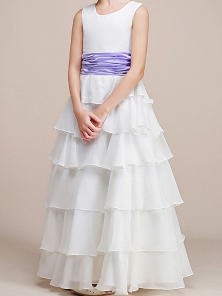 A-Line Floor Length Pageant Flower Girl Dresses - Polyester Sleeveless Jewel Neck With Ruching_3
